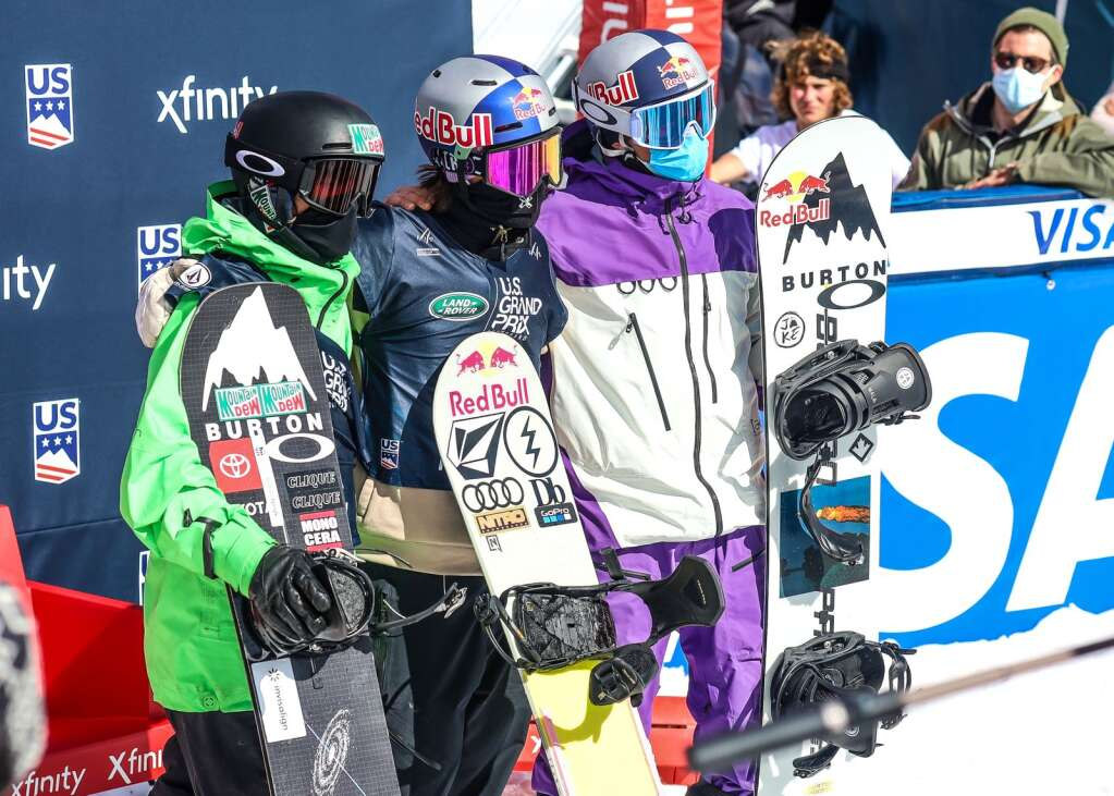 From left, podium finishers Red Gerard, Marcus Kleveland and Mark McMorris pose after the men's snowboard slopestyle finals at the U.S. Grand Prix and World Cup on Saturday, March 20, 2021, at Buttermilk Ski Area in Aspen. Photo by Austin Colbert/The Aspen Times.