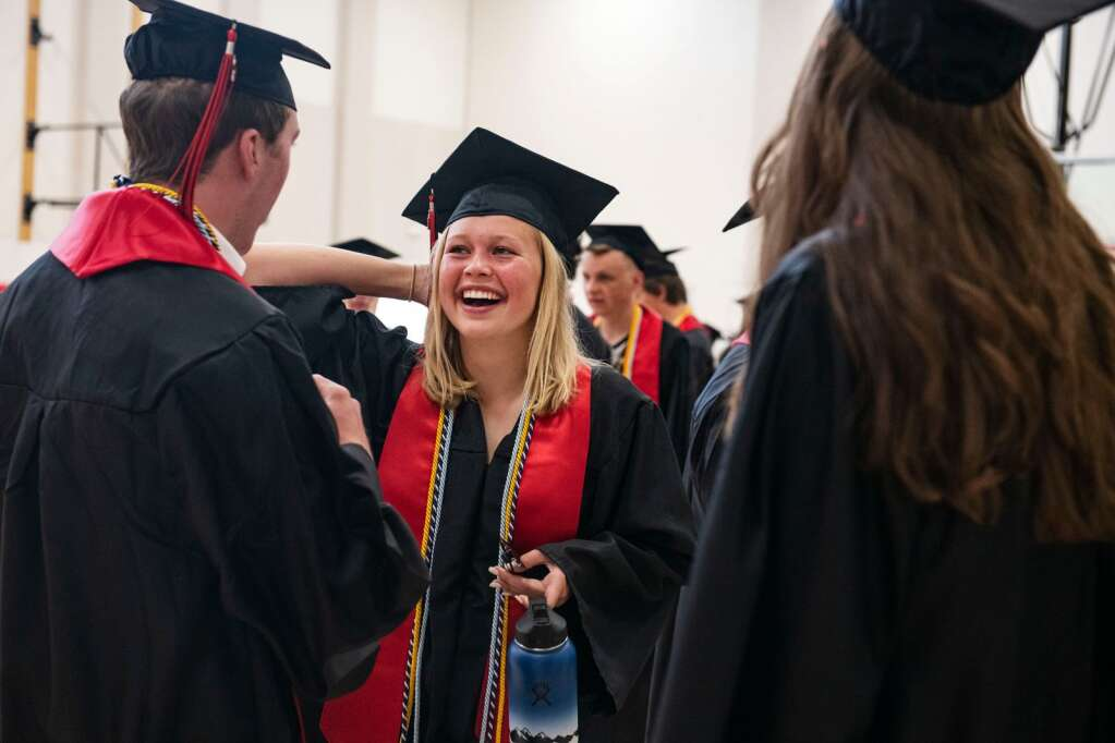 Aspen High School graduates prepare for the commencement ceremony at the school on Saturday, June 5, 2021. (Kelsey Brunner/The Aspen Times)
