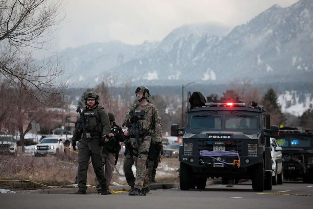 Police outside a King Soopers grocery store where a shooting took place Monday, March 22, 2021, in Boulder, Colo.  (AP Photo/Joe Mahoney)
