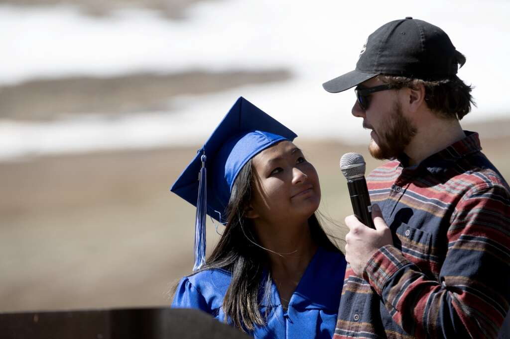 Lilyanne Tyson listens as her brother, Spencer, speaks during The Peak School graduation at Copper Mountain Resort on Thursday, May 27.   Photo by Jason Connolly /Jason Connolly Photography