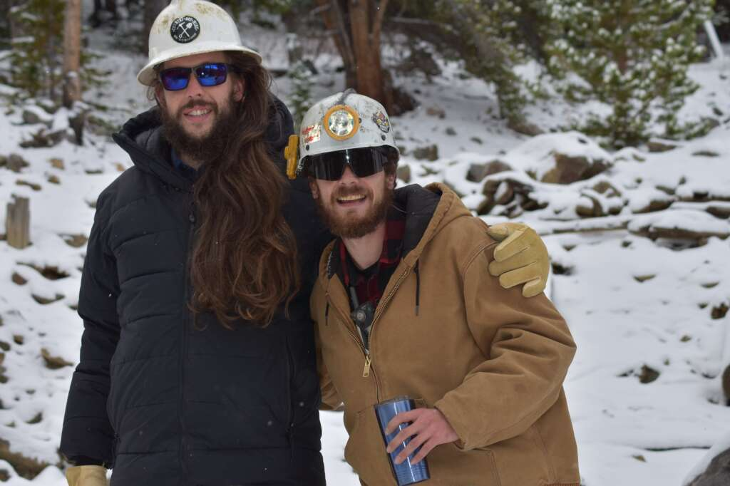 Country Boy Mine Foreman Bridges Simmons, left, poses for a photo Wednesday, Oct. 13, with Superintendent Jonathan Bellew near the mine's old mill, where the two stumbled upon a historic artifact. | Taylor Sienkiewicz/Summit Daily News