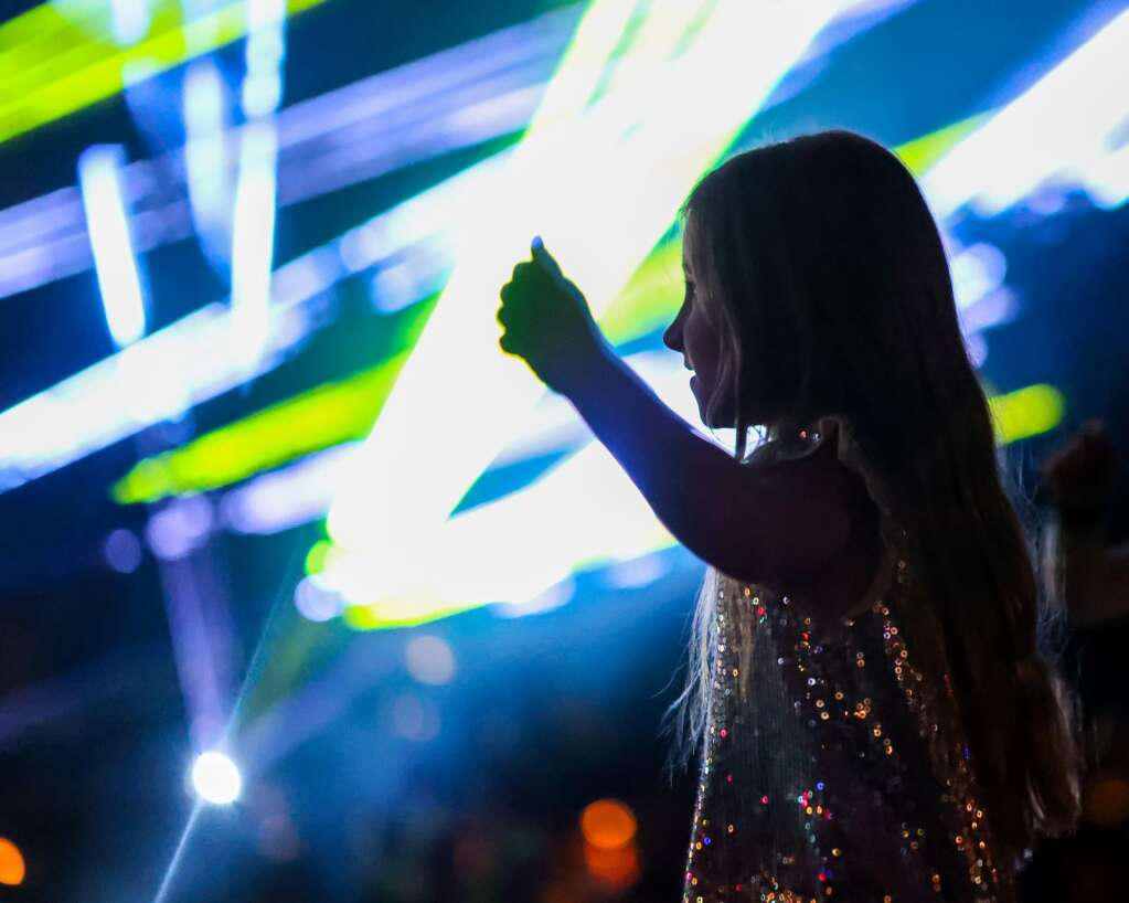 Attendees were treated to a laser light show to cap off the Fourth of July festivities on Sunday, July 4, 2021, at Wagner Park in downtown Aspen. Photo by Austin Colbert/The Aspen Times.