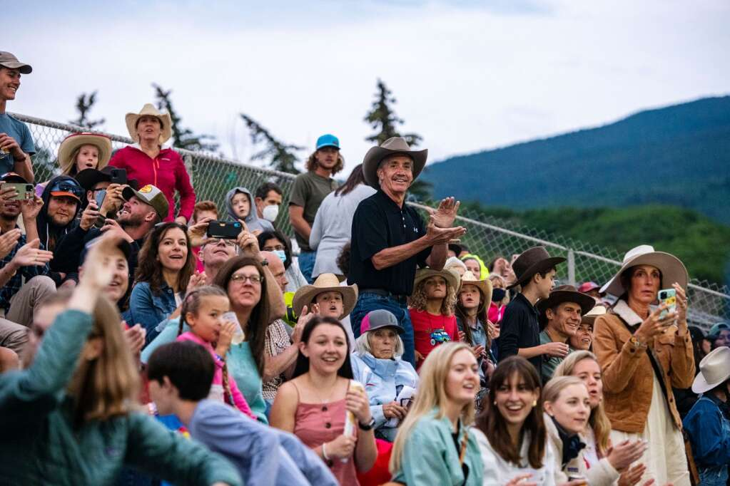 Crowds cheer for the Snowmass Rodeo on Wednesday, June 23, 2021. (Kelsey Brunner/The Aspen Times)