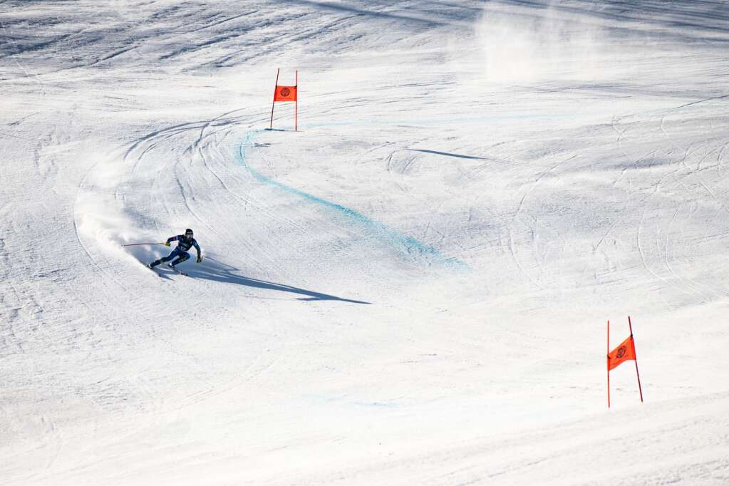 American alpine skier Isaiah Nelson makes turns during his first run of the Men's Downhill National Championship at Aspen Highlands on Saturday, April 10, 2021. (Kelsey Brunner/The Aspen Times)