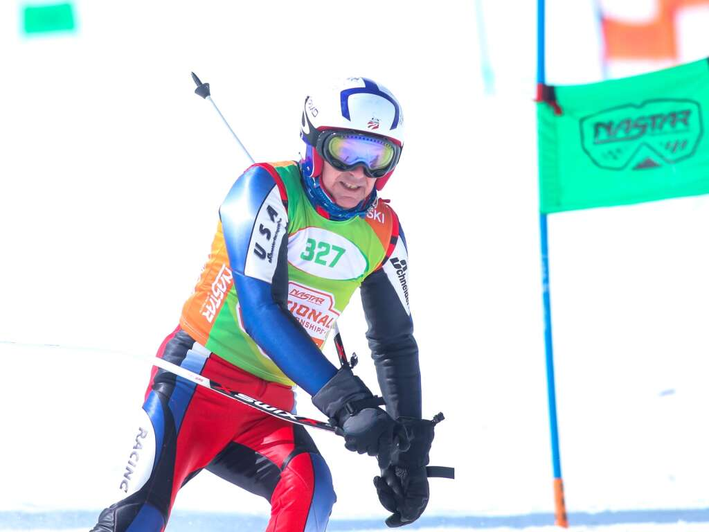 Skier Tom Berkeley, of Clarkson Valley, Missouri, competes in the giant slalom race at NASTAR national championships on April 7, 2021, at Snowmass Ski Area. | Austin Colbert/The Aspen Times