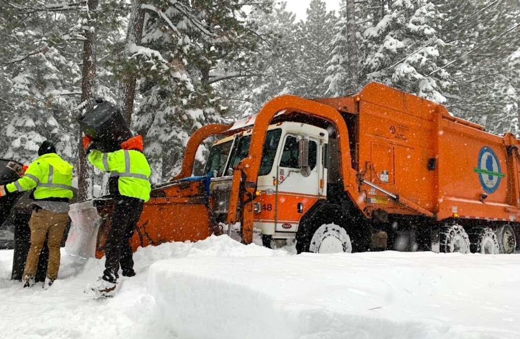 South Tahoe Refuse personnel had their hands full Thursday morning while collecting garbage. Eventually STR canceled service due to the conditions. <em id=