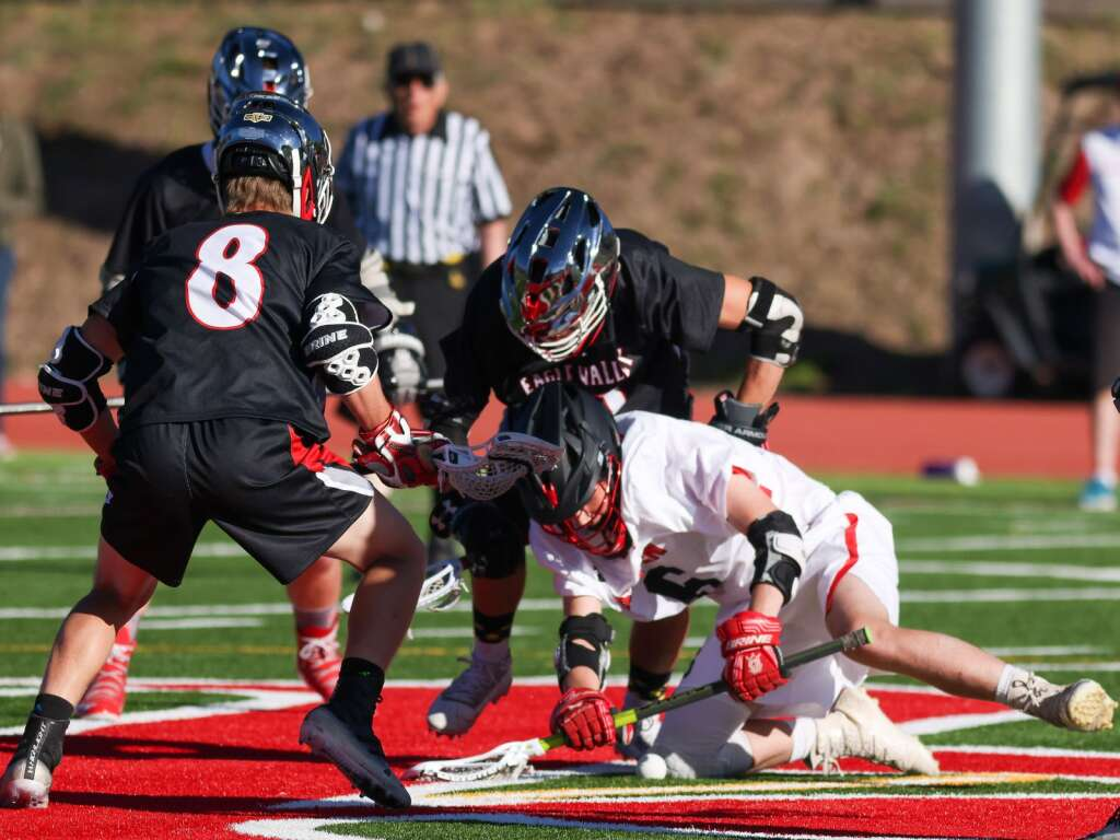 The Aspen High School boys lacrosse team hosts Eagle Valley on Tuesday, May 25, 2021, on the AHS turf. Photo by Austin Colbert/The Aspen Times.