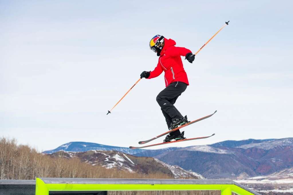 Freestyle skier Eileen Gu transitions onto a rail while skiing the beginning features on the slopestyle course during a practice for the 2021 X Games Aspen at Buttermilk on Thursday, Jan. 28, 2021. (Kelsey Brunner/The Aspen Times)