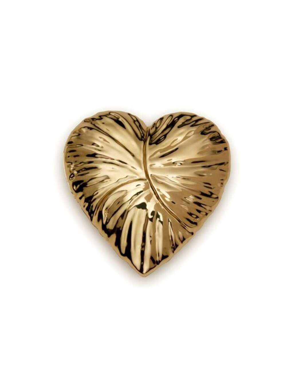 """This gold-colored, brass-plated Aerin Home Collection Ambroise Heart Gold measures 4"""" x 4"""" and 1.5"""" high. The design is inspired by a flower petal. $195. Gorsuch, 263 Gore Creek Drive, Vail. 970.476.2294. www.gorsuch.com 