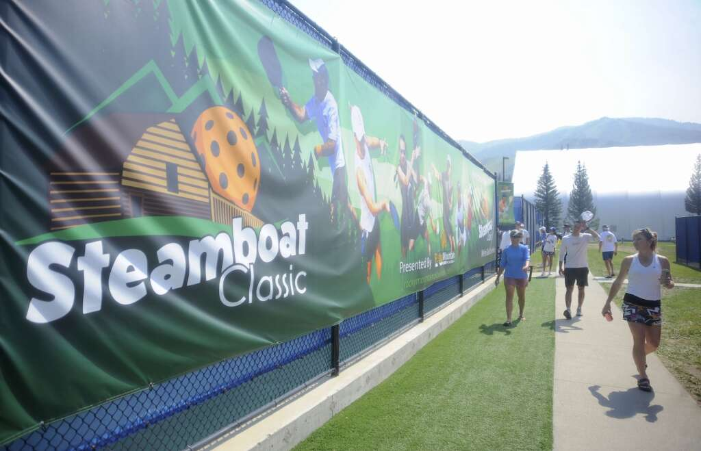 The Steamboat Tennis and Pickleball Center was decked out with posters, ads and imagery of the Steamboat Classic Pickleball Tournament on Saturday afternoon. (Photo by Shelby Reardon)