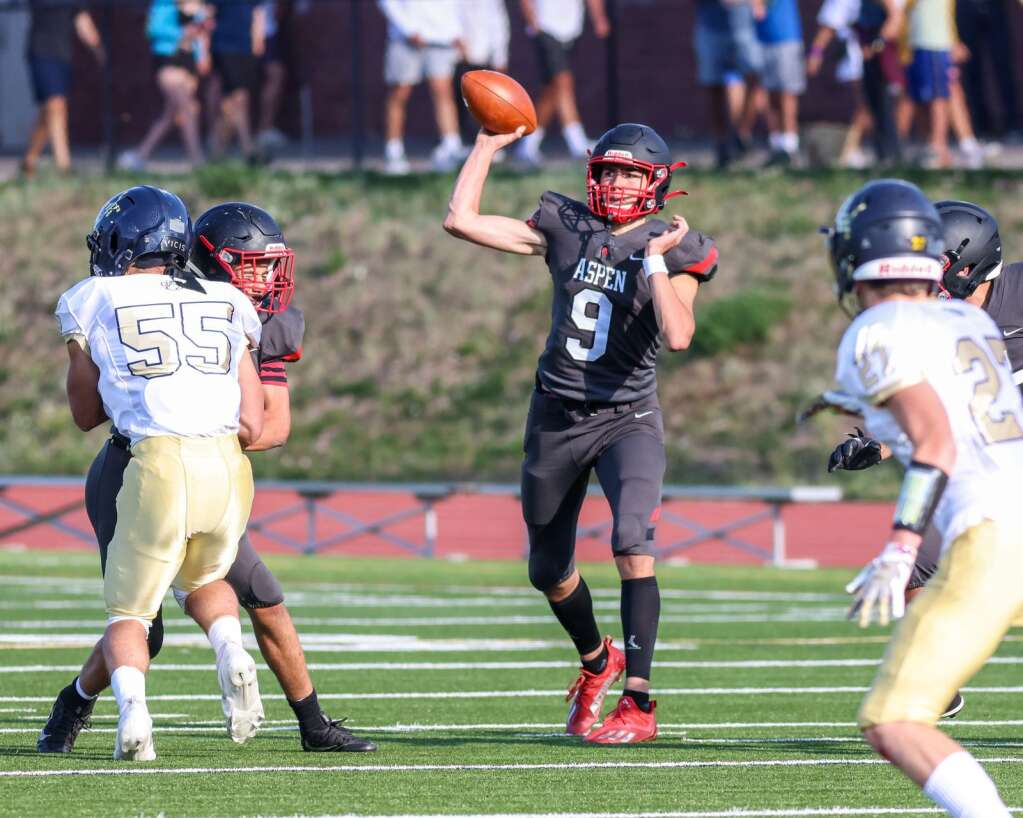 Aspen High School's Porter Lee passes as the football team hosts Colorado Springs Christian on Friday, Aug. 27, 2021, on the AHS turf. | Photo by Austin Colbert/The Aspen Times