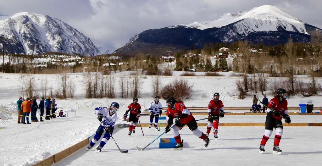 A team of Summit Youth Hockey skaters play pond hockey at North Pond Park in Silverthorne during the program's tournament this past weekend in Silverthorne. | Photo from Michael Ascher