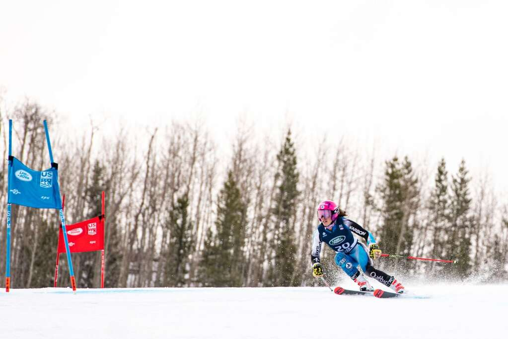 Canadian alpine skier Caroline Beauchamp competes in the Women's Giant Slalom National Championship at Aspen Highlands on Thursday, April 15, 2021. Beauchamp finished 18th overall. (Kelsey Brunner/The Aspen Times)