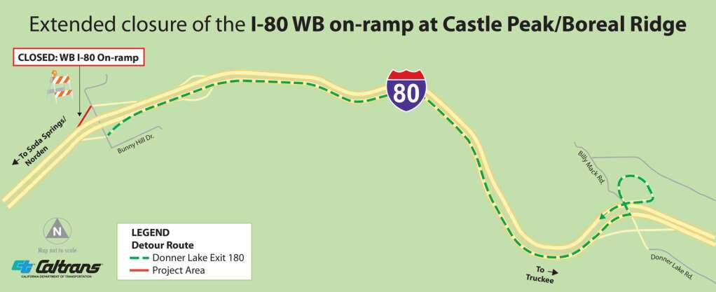 Detour map for the closure of the I-80 westbound on-ramp at Castle Peak/Boreal Ridge. | Provided by Caltrans