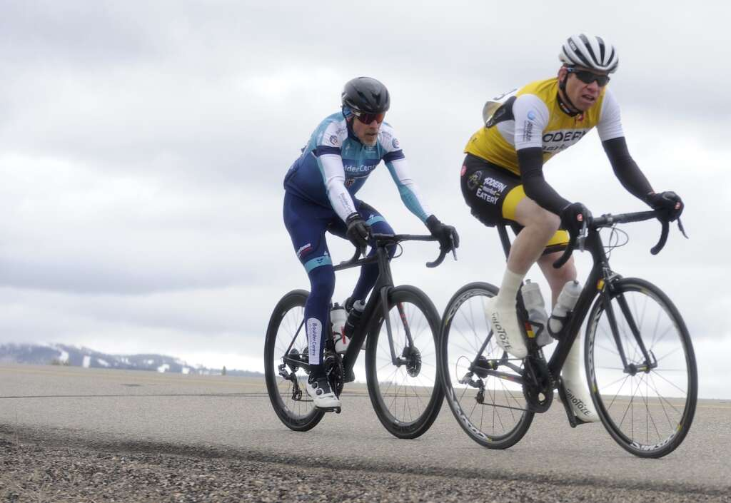 A pair of cyclists speed down County Road 35 during the 2021 Steamboat Roubaix on Saturday, May 8. (Photo by Shelby Reardon)