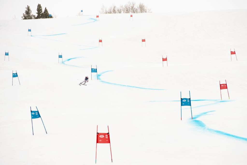 American alpine skier Sophia Tozzi competes in the Women's Super G National Championships at Aspen Highlands on Tuesday, April 13, 2021. (Kelsey Brunner/The Aspen Times)