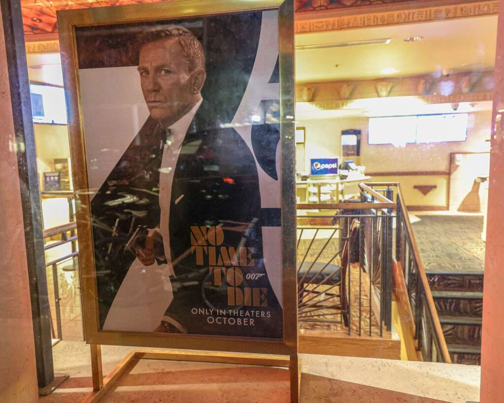 A movie poster for the next James Bond movie is seen at the Isis Theatre on Saturday, July 10, 2021, in downtown Aspen. Photo by Austin Colbert/The Aspen Times.
