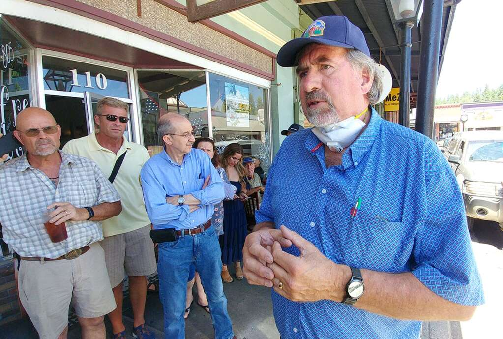 California Congressman Doug La Malfa stands in front of a gathering of Nevada County business owners and community members upset with the recent set backs to the state's reopening plan July 14 in front of Old Town Cafe in downtown Grass Valley. | Photo: Elias Funez.
