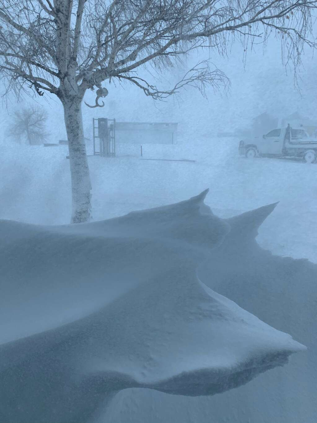 Ranchers have been struggling with huge drifts and pushing snow for days. | Sondra Anderson; Northeast of Pine Bluffs; Wyoming.