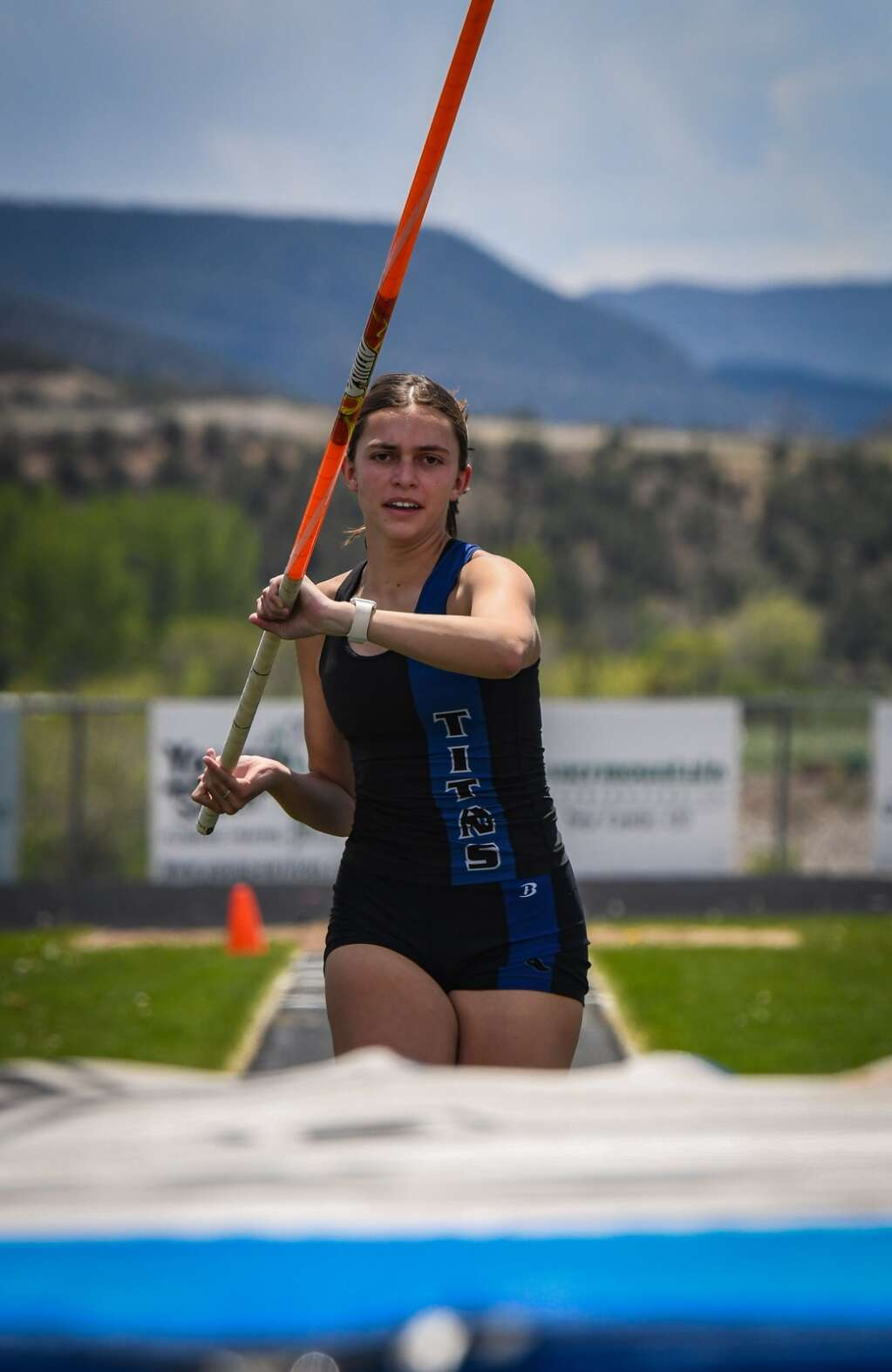 A Coal Ridge High School pole vaulter competes in the Demon Invitational girls pole vaulting competition.  |Chelsea Self / Post Independent