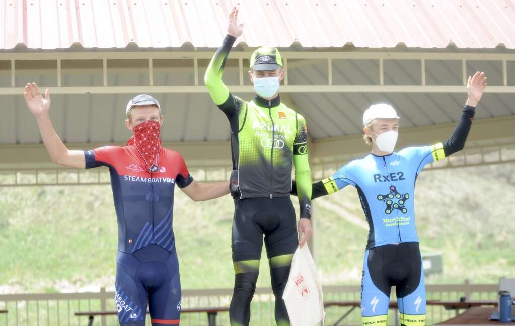 From left, Ethan Moyer, Connor Pulvidente and Anthony Hilligoss podium in the senior men 3 category of the Steamboat Roubaix on Saturday. (Photo by Shelby Reardon)
