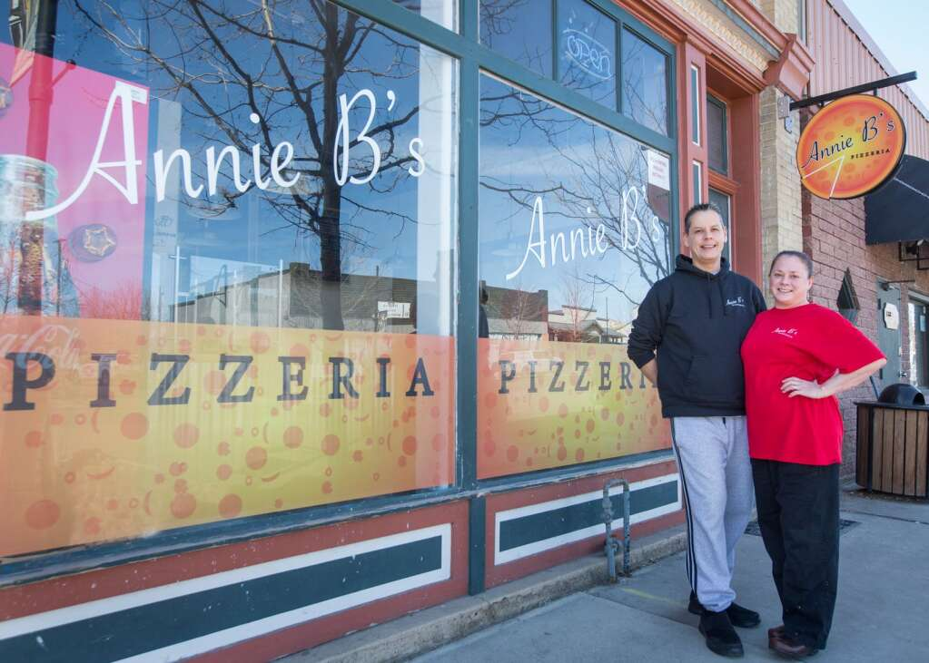 Whitney and Anne B. Woodward, owners of Annie B.'s Pizzeria, pose for a photo in front of their shop, located at 38 S. Main Street in Coalville on Wednesday, March 3, 2021. | Tanzi Propst/Park Record