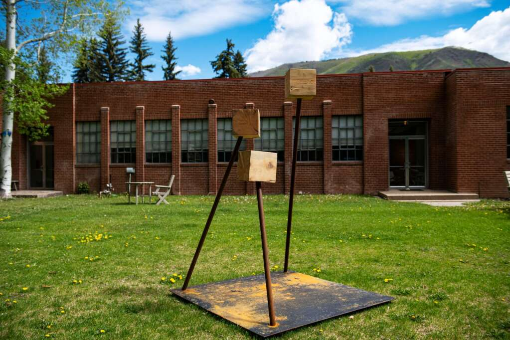 A large sculpture installation is displayed in the lawn of the Red Brick Center for the Arts on Wednesday, June 2, 2021. (Kelsey Brunner/The Aspen Times)