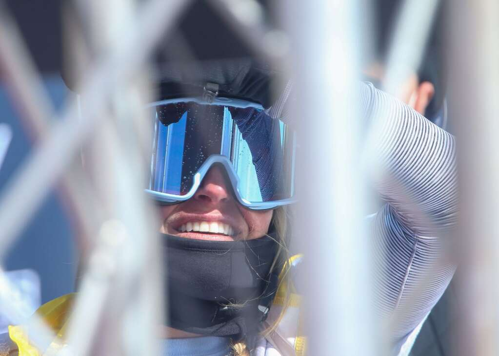 Tahoe's Jamie Anderson watches the monitor during the women's snowboard slopestyle contest of the U.S. Grand Prix and World Cup on Saturday, March 20, 2021, at Buttermilk Ski Area in Aspen. Photo by Austin Colbert/The Aspen Times.