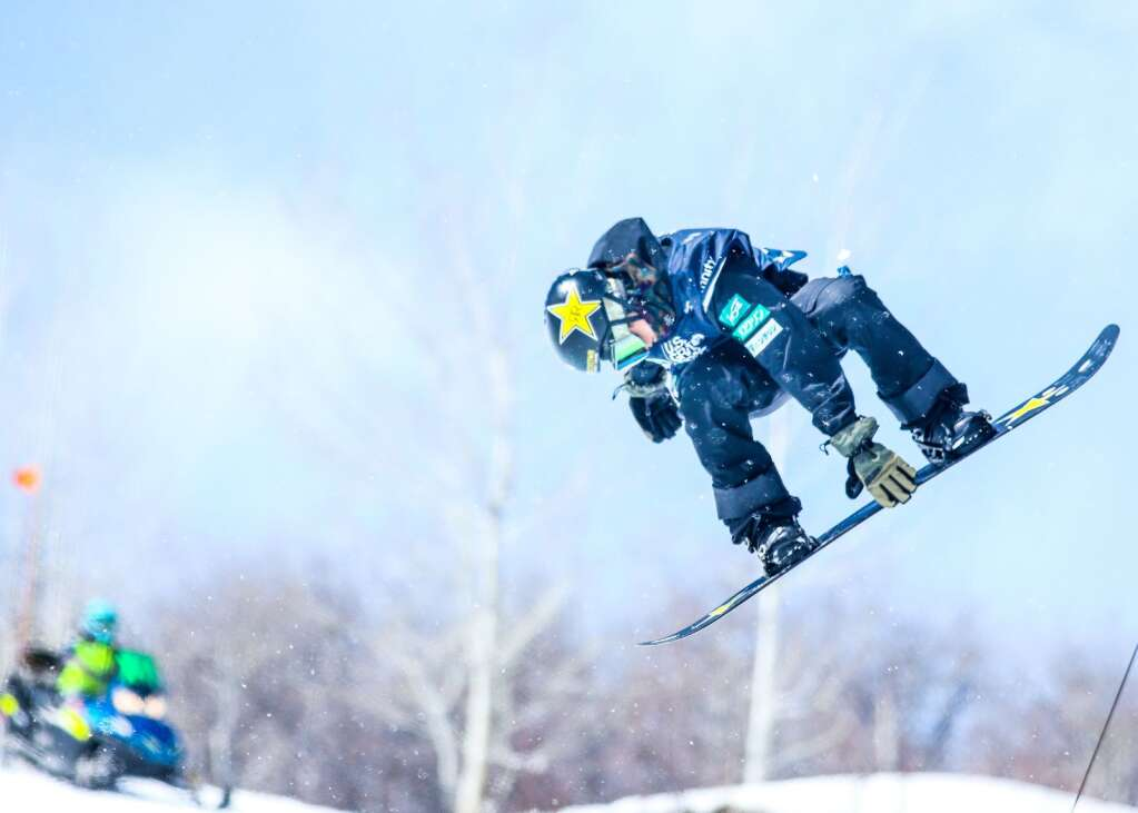 Japan's Raibu Katayama competes in the men's snowboard halfpipe final of the U.S. Grand Prix and World Cup on Sunday, March 21, 2021, at Buttermilk Ski Area in Aspen, Colo. Photo by Austin Colbert/The Aspen Times.
