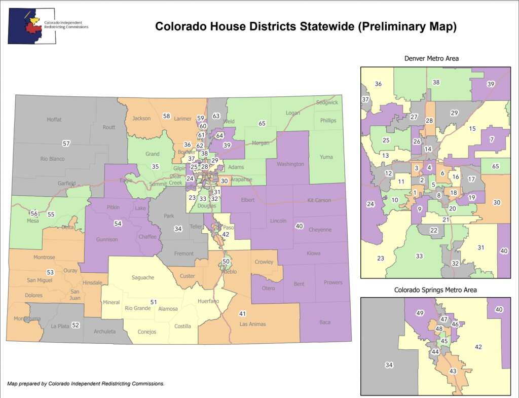 The preliminary plan for the Senate district map was released Sept. 13. | Colorado Independent Congressional Redistricting Commission/Courtesy map