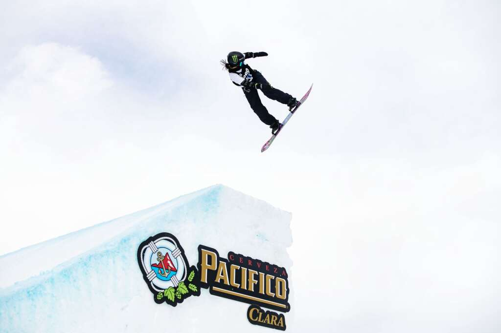Kokomo Murase gets air off of the second jump during the slopestyle finals at the 2021 X Games Aspen on Friday, Jan. 29, 2021. (Kelsey Brunner/The Aspen Times)