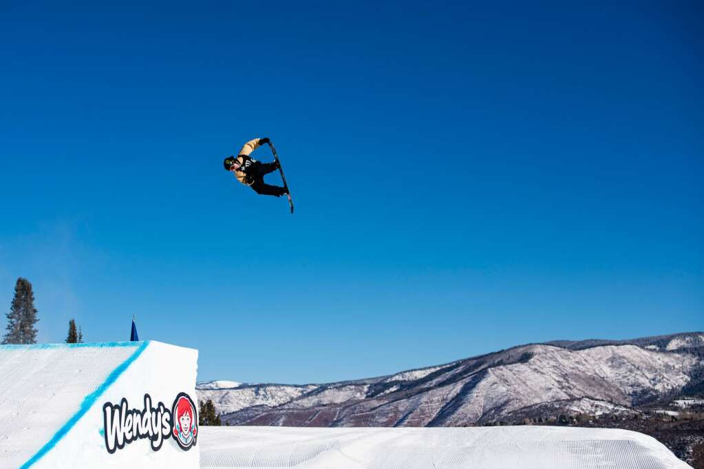 Snowboarder Rene Rinnekangas competes in the men's snowboard slopestyle finals at the 2021 X Games at Buttermilk on Sunday, Jan. 31, 2021. (Kelsey Brunner/The Aspen Times)