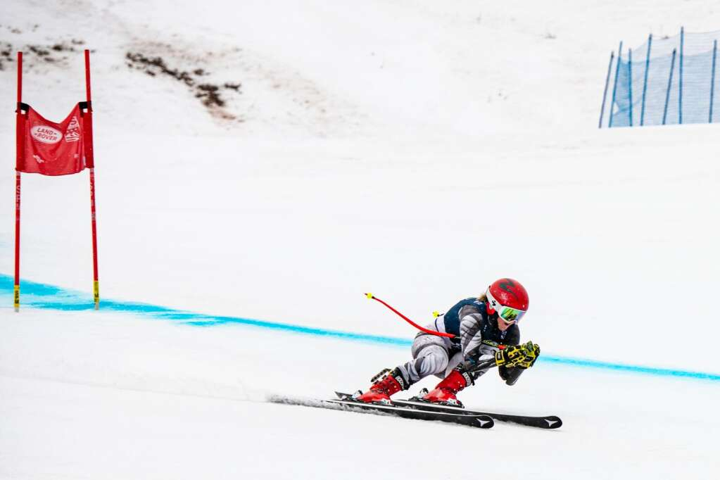 An alpine skier competes in the Women's Super G National Championships on Tuesday, April 13, 2021. (Kelsey Brunner/The Aspen Times)