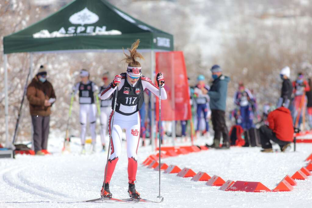 A skier competes in a cross-country ski race on Saturday, Feb. 6, 2021, near the AVSC Clubhouse. Photo by Austin Colbert/The Aspen Times.