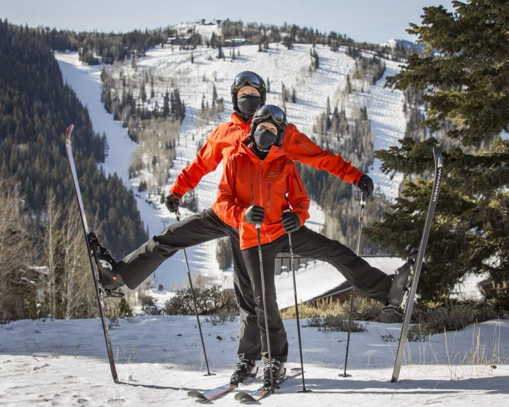 Belinda and Mike McConnell pose for a photo near the top of the Carpenter Express lift at Deer Valley Resort on Thursday, Jan. 14, 2021. | Tanzi Propst/Park Record