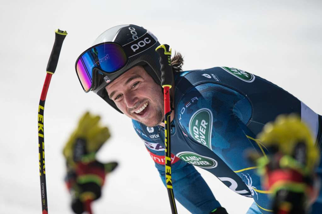 American alpine skier Jared Goldberg takes a break after his winning run during the Men's Downhill National Championships at Aspen Highlands on Saturday, April 10, 2021. Goldberg tied for first place. (Kelsey Brunner/The Aspen Times)