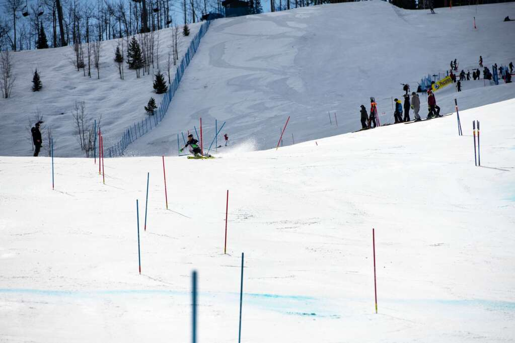 New Zealand alpine skier Colbey Derwin competes in the U.S. Alpine Championships at Aspen Highlands on Wednesday, April 7, 2021. (Kelsey Brunner/The Aspen Times)