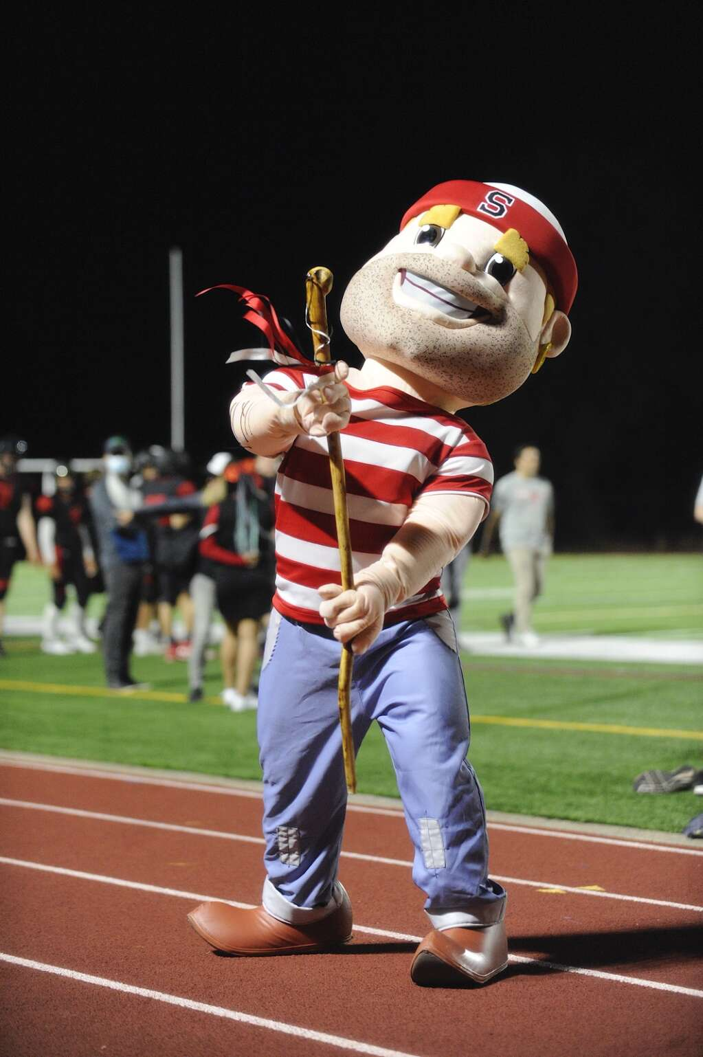 The Steamboat Springs mascot dances with the crowd during a home football game against Middle Park on Friday night at Gardner Field.   Shelby Reardon/Steamboat Pilot & Today