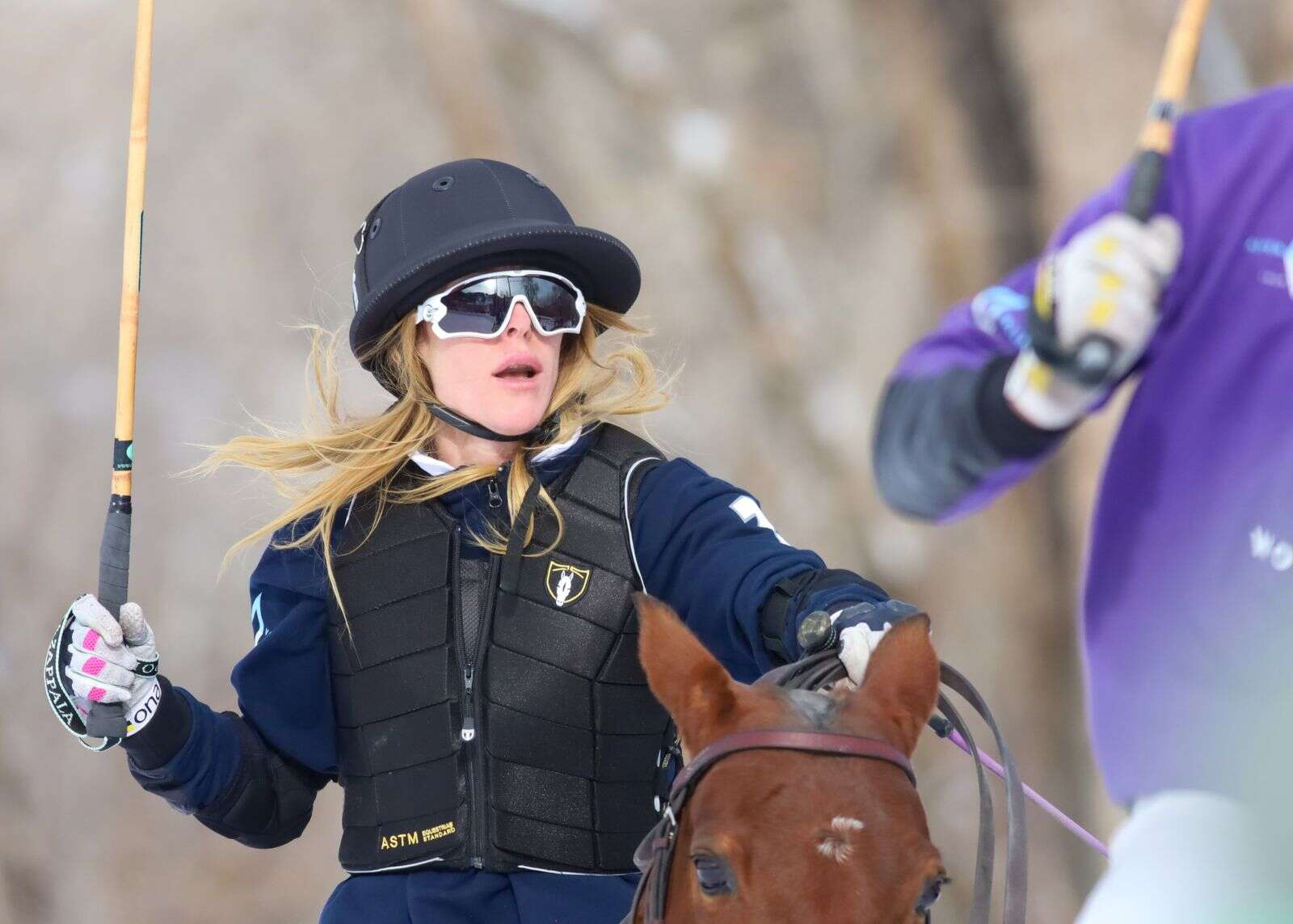 Sarah Siegel-Magness rides in the World Snow Polo Championship on Sunday, Dec. 20, 2020, at Rio Grande Park in Aspen. Photo by Austin Colbert/The Aspen Times.