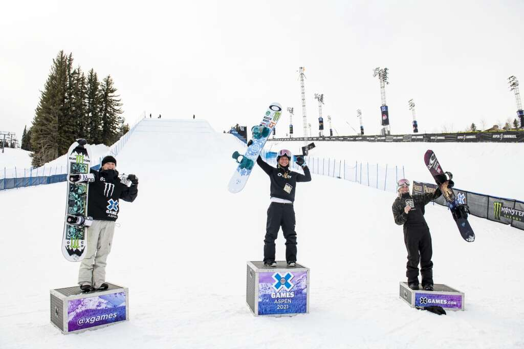 Zoi Sadowski-Synnott, left, Jamie Anderson and Laurie Blouin stand on their podiums after the final womens slopestyle competition on Friday, Jan. 29, 2021. (Kelsey Brunner/The Aspen Times)