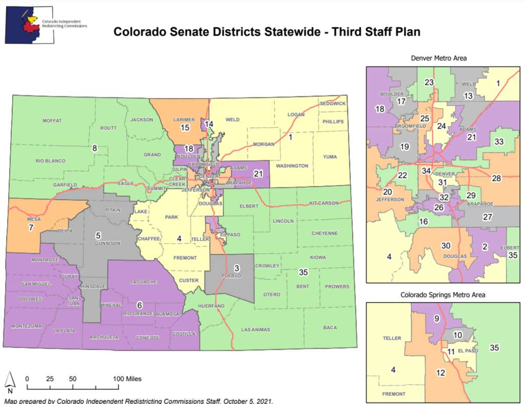 The third Staff Plan Map of State Senate Districts from the Colorado Independent Legislative Redistricting Commission puts Routt County is a district with counties to the west and several with resort communities.   Colorado Independent Legislative Redistricting Commission/Courtesy
