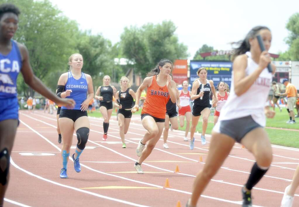 Hayden's Isabella Simones runs the 200-meter portion of the 800 medley relay. The Tigers finished second in the event at the CHSAA Track and Field State Championships at JeffCo Stadium on Friday. (Photo by Shelby Reardon)