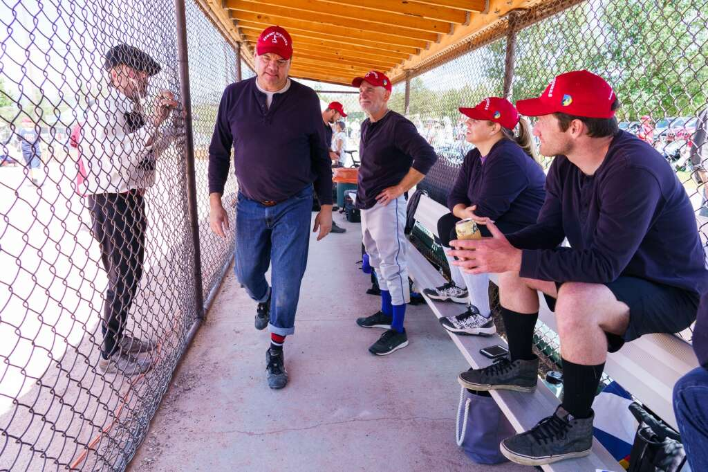 A player from the Star Baseball Club heckles members of the Summit Sluggers between innings of the Summit Historical Society Vintage Base Ball Game held Sunday at the Frisco Adventure Park baseball field in Frisco. | Photo by John Hanson