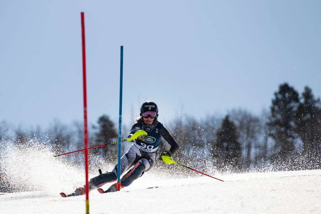 American alpine skier Tricia Mangan competes in the Women's Alpine Combined FIS event at Aspen Highlands on Wednesday, April 14, 2021. (Kelsey Brunner/The Aspen Times)