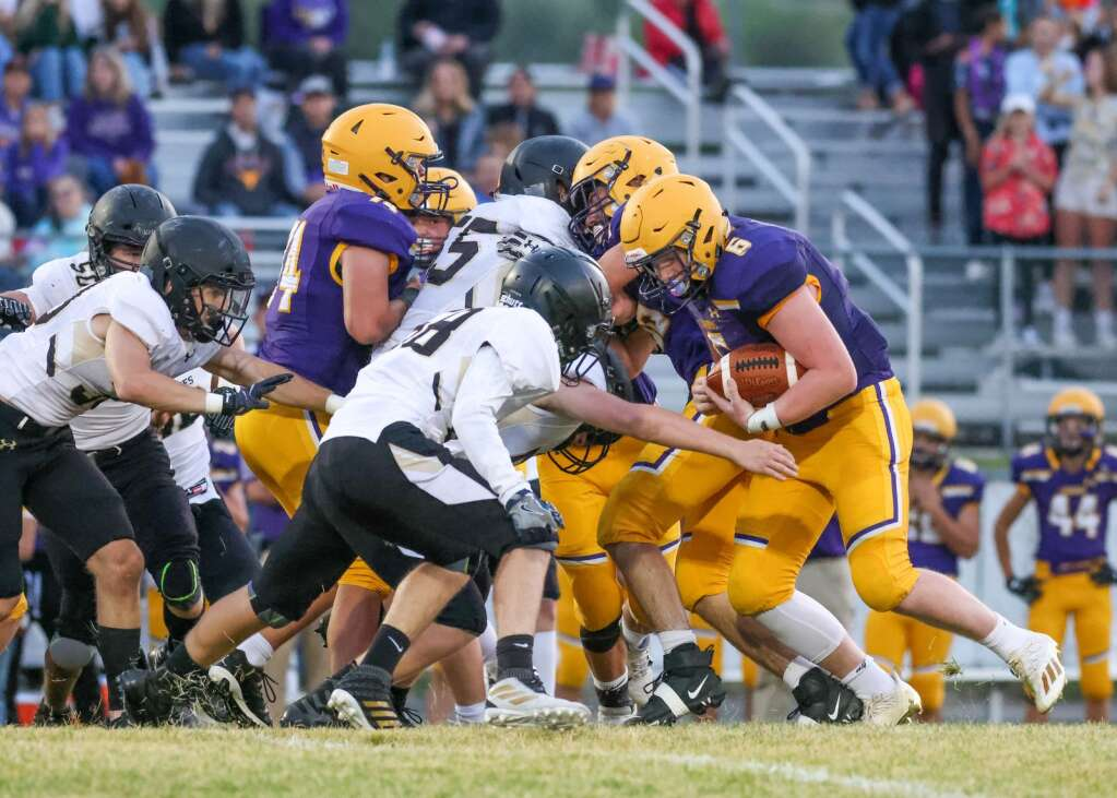 Basalt High School's Cooper Crawford is stopped short on a run against Battle Mountain on Thursday, Sept. 2, 2021, on the BHS field. | Photo by Austin Colbert/The Aspen Times