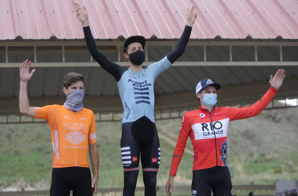 From left, Matt Jablonski, Richard Arnopol and Henry York podium in the men's pro category of the Steamboat Roubaix on Saturday. (Photo by Shelby Reardon)