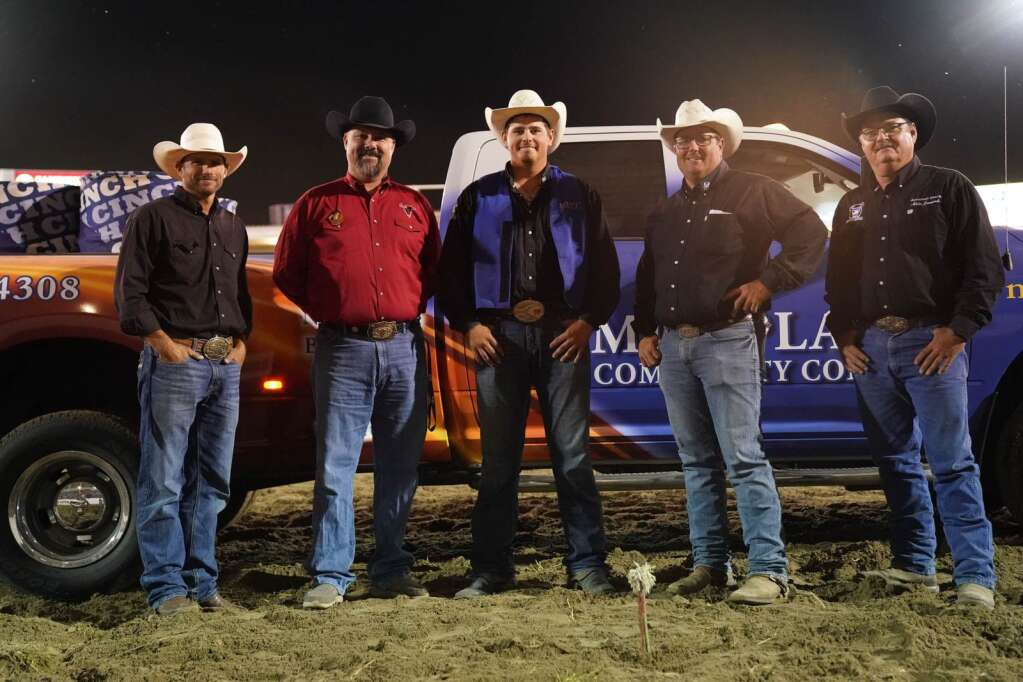 Rodeo coach Garrett Nokes (second from the right) is part of the group presenting MPCC rodeo athlete Marshall Still (center) with a scholarship in 2019. From left to right, Dustin Elliott, world champion bull rider and former MPCC rodeo head coach; David Fudge, executive director of NebraskalandDays, Still, Nokes, and MPCC rodeo team advisor Mike Janecek. Photos courtesyAll photos courtesy Mid-Plains Community College.
