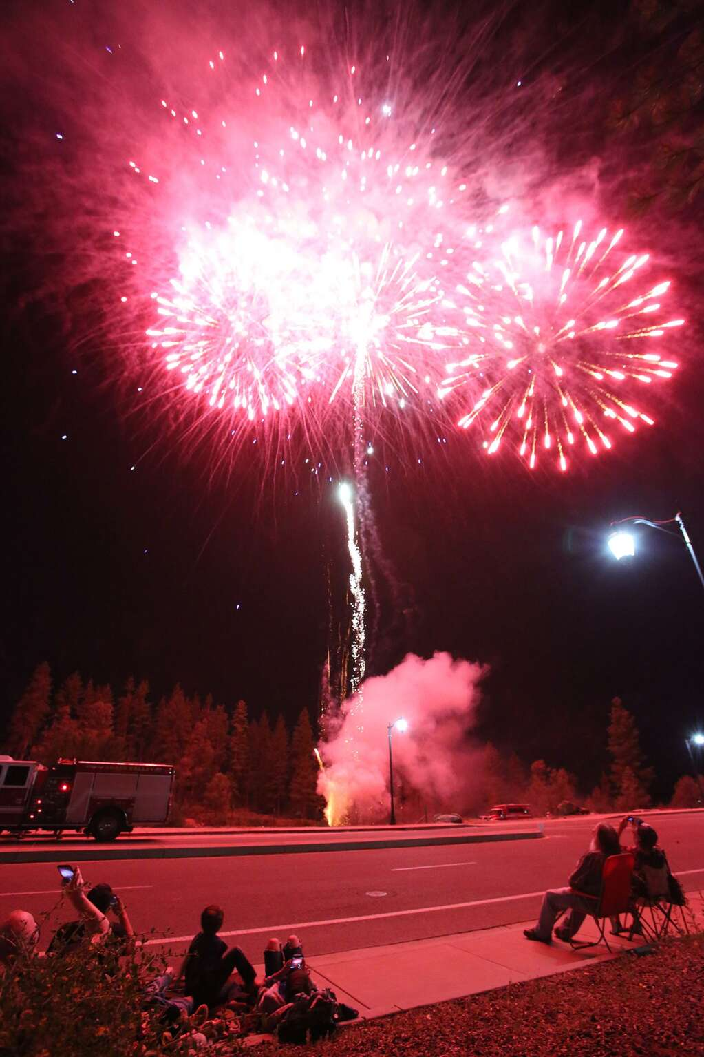 Grass Valley's stay at home fireworks show, held in place of the display usually held at the Nevada County Fairgrounds, went off Saturday evening from the Dorsey overpass allowing residents in the Glenbrook Basin and some Nevada City residents to be able to see. | Photo: Elias Funez