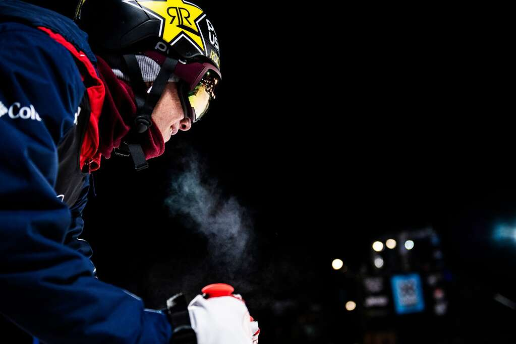 Alex Ferreira looks down the superpipe before dropping in for a practice run before the men's ski finals on Sunday, Jan. 26, 2020. (Kelsey Brunner/The Aspen Times)