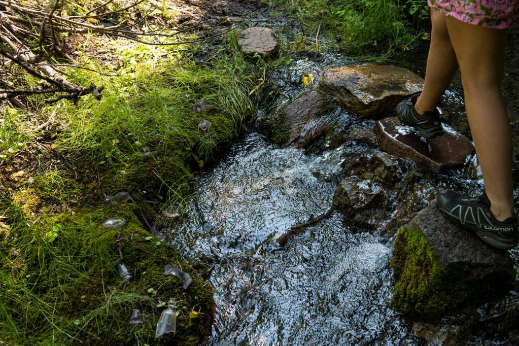 """Found glass shards decorate the walkway beside a creek crossing at the """"Earthly Palace Forest Shrine"""" created by local artist Lara Whitley for the """"Aspen Space Station"""" on the backside of Aspen Mountain.  (Kelsey Brunner/The Aspen Times)"""